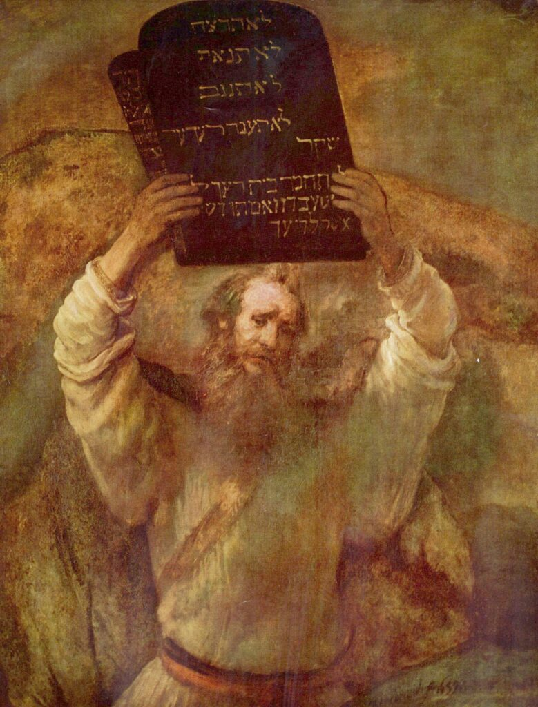 Moses Breaking the Tablets of the Law (1659, Berlin) by Rembrandt
